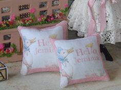 dollhouse miniature Jemima Puddle-Duck pillows