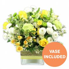 This vibrant bouquet is a fresh combination of yellow, white and green. A lovely mix of blossoms they will adore for any occasion. Autumn Flowers, Fresh Flowers, Alison Jones, Early May Bank Holiday, Hand Tied Bouquet, Same Day Flower Delivery, Just Amazing, Chrysanthemum, Carnations