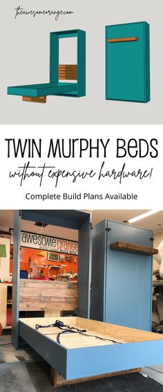 Complete build plans available to make your own DIY Twin Murphy Beds without expensive hardware! #diy #MurphyBeds #woodworking Murphy Bed Plans, Murphy Beds, Murphy Bed With Desk, Twin Size Murphy Bed, Murphy Bed Office, Build A Murphy Bed, Cama Murphy, Murphy-bett Ikea, Ikea Hack