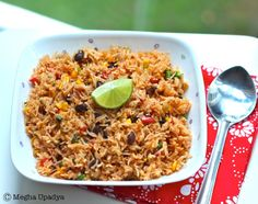 Mexican Fried Rice (Basmati, stock, peppers, corn, tomatoes, black beans, green chillies)