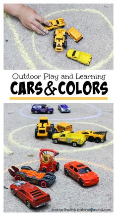 Grab a few cars and head to the driveway for some fun outdoor play and learning!  Great summer math activity for kids. BONUS activity ideas for kids who have mastered the ability to sort by color.  C