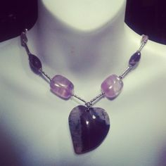 Modern gemstone holistic necklace with huge by DriadaCollection, $83.00