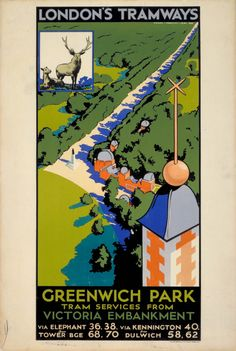 Giclee Print: Greenwich Park, London County Council (LC) Tramways Poster, 1932 by F Marsden Lea : Posters Uk, Railway Posters, Poster Ads, Cool Posters, Poster Prints, Retro Posters, London Transport Museum, Public Transport, Greenwich Park