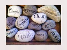 Rocks for the Eagle Scout Court of Honor tables.: