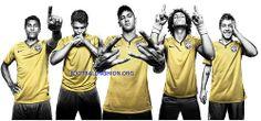 Brazil 2014 FIFA World Cup Nike Home Soccer Jersey. Camiseta, Camisa, Football Shirt, Kit, Brasil Camisa Copa Mundial