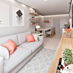 decoration: 25 tips and tricks to inspire and modify your home! Small Apartment Interior, Interior Design Living Room, Living Room Designs, Living Room Decor, Bedroom Decor, Narrow Living Room, Small Living, Home And Living, Decoration
