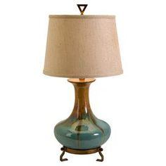 "Create a lovely ambiance with this eye-catching lamp, bringing chic style to your bedside or favorite reading nook.   Product: Lamp   Construction Material: Ceramic, fabric and iron sheet   Color: Golden brown and turquoise             Dimensions: 30"" H x 15"" Diameter"