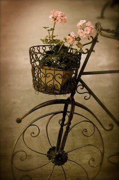 Vintage bicycle with basket of spring flowers. Shabby Vintage, Shabby Chic, Vintage Style, Old Bicycle, Bicycle Art, Bicycle Basket, Bicycle Decor, Bicycle Wheel, Vintage Bicycles