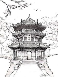 Architecture Drawing Pagoda drawing chinese pagoda by on devian. -Chinese Architecture Drawing Pagoda drawing chinese pagoda by on devian. - Custom House Portrait Pen and Ink drawing of home from photo Architecture Sketchbook, Chinese Architecture, Architecture Art, Chinese Buildings, Ancient Architecture, Japanese Drawings, Japanese Art, Japanese Sleeve, Temple Drawing