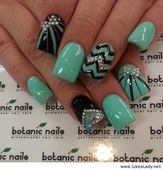 Blue and black nail art