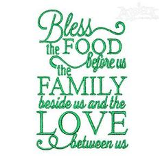 "Food, Family and Love Embroidery Designs  4"" and 5"""