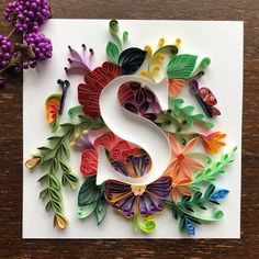 Quilling personalized letters s wall art for initials name monogram gift for everyone freind mom father daughter son handcraf Arte Quilling, Quilling Letters, Paper Quilling Flowers, Paper Quilling Patterns, Quilled Paper Art, Quilling Paper Craft, Paper Crafts, Initial Wall Art, Origami