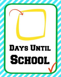 First Day of School Countdown