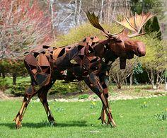 John Goss   Twisted Fish Gallery  Moose - Metal Sculpture