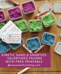 Kinetic Sand Valentine's Favors with free printable!