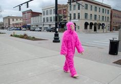Man in pink gorilla suit on East Main Street....Nuff Said :-)