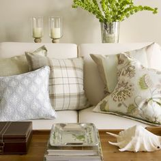 Pattern Play with Pillows in a Southampton Home | Neutrals