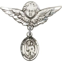 Sterling Silver Baby Badge with St. Maurus Charm and Angel w/Wings Badge Pin 1 1/8 X 1 1/8 inches *** Check out the image by visiting the link.