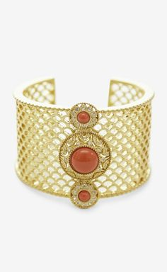 Gold, Orange and Crystal Bracelet.