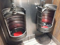 Beer keg urinals at The Ruck, a bar and restaurant in downtown Troy, N.Y.