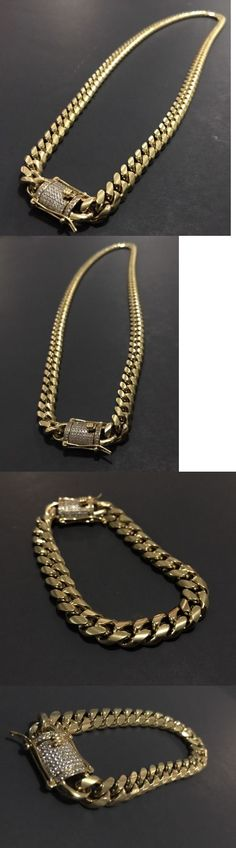 Chains Necklaces and Pendants 137839: Men Cuban Miami Link Bracelet And Chain Set Stainless Steel 10Mm18k Gold -> BUY IT NOW ONLY: $149.99 on eBay!