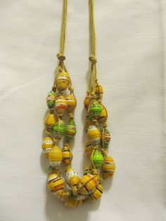 Multi strand paper bead necklace