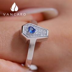 Coffin Ring Heart Shaped Blue Sapphire Inlaid S925 For Women Gemstone Colors, Full Moon, Coffin, Fashion Rings, Blue Sapphire, Heart Shapes, Sterling Silver Rings, Heart Ring, White Gold