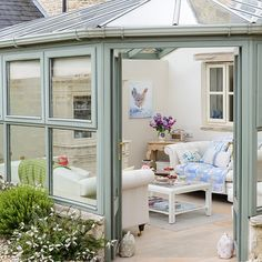 Green country conservatory with white walls and wooden flooring Decorating Conservatory Flooring, Small Conservatory, Conservatory Interiors, Conservatory Design, Style At Home, Pergola, Garden Room Extensions, Country Interior, Floor Design