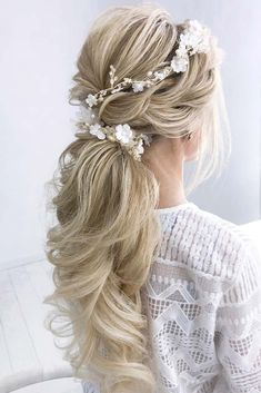 24 Elegant Wedding Hairstyles for Long Hair , Gorgeous low flowered ponytails for an amazing look. We all know that the time before the Big Day flies with the speed of sound. Start your preparing . Wedding Hair Half, Elegant Wedding Hair, Bridal Hair, Trendy Wedding, Wedding Beauty, Ponytail Hairstyles, Bride Hairstyles, Bridesmaid Hairstyles, Teenage Hairstyles