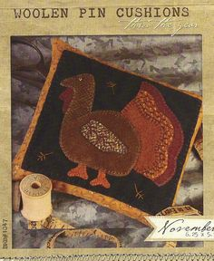 primitive wool applique patterns | Primitive Folk Art Wool Applique Pattern: NOVEMBER - Woolen PIN ...