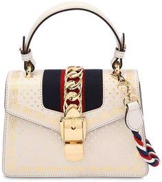 a1e0ec6a4792 GUCCI, Small sylvie guccy & stars leather bag, White, Luisaviaroma