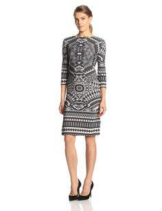 Three-Quarter Sleeve Snake-Print Pullover Sheath Dress by Tiana B