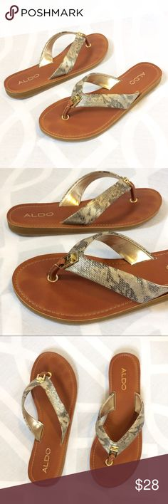 ALDO Metallic Snake Skin Pattern Leather Flip-Flop ALDO Metallic Snake Skin Pattern Leather Flip-Flop Sandals with Gold-Tone Hardware. Upscale Pool-side Vibes.  Condition: Excellent/EUC, minor sings of wear   Material: Genuine Leather  Style: Flip Flop Sandal Toe-Post Size: 8 Aldo Shoes Sandals