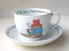 A Paddington bear teacup. My Coffee, Coffee Cups, Paddington Bear Party, Tea And Books, Tea Cozy, Tea Art, My Cup Of Tea, Cute Mugs, Tea Cup Saucer
