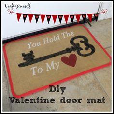 Valentine burlap door mat - craftyourself.com
