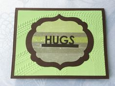 Hand made cards: Hugs - Send hugs - hand stamped - thinking of you - colorful - cheer up card - embossed - masculine hugs - handmade cards by Wcards on Etsy