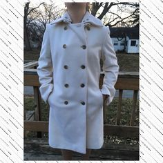 Listing! J.Crew Wool Trench Coat EUC Gorgeous ivory colored. Detachable collar. Size 16 but fits like a 12 or 14. J. Crew Jackets & Coats Trench Coats