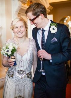 Art deco wedding gown with vintage hairstyle.  jenny packham dress.