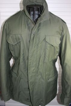 Original Vintage Army Field Jacket Military M-65 Mens Coat Olive Medium   ARmy  Military 5bce3b388e