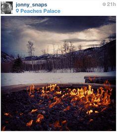 Getting cozy fireside at Sundance.