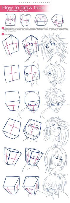 How To Draw Face - Different Angles - Great Drawing Reference for Manga and Comic Drawing Skills, Drawing Lessons, Drawing Techniques, Drawing Tips, Drawing Reference, Drawing Sketches, Drawings, Sketching, Anatomy Reference