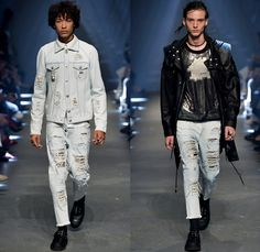 Versus Versace 2017 Spring Summer Mens Runway Catwalk Looks - London Fashion Week Collections British Fashion Council UK United Kingdom - Rebel Rock n Roll Faded Destroyed Denim Jeans Aviator Jacket Motorcycle Biker Parka Outerwear Embroidery Bedazzled Sequins Drawstring Cinch Tapered Sandals Yellow Hoodie Nylon Sheer Sweater Cutout Shoulders Vest Waistcoat Fanny Pack Waist Pouch Belt Bag Briefcase