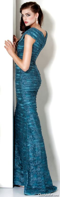 f0e26c31afff1c JOVANI - Tiered Turquoise Gown High Fashion Dresses