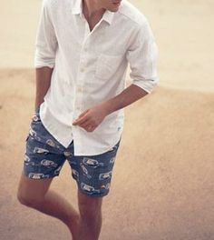 Spring style: Sport shirt & swim trunks