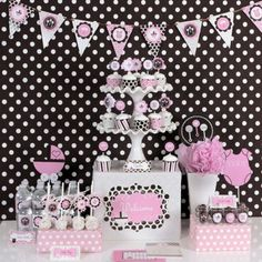 So cute!  Pink Baby Shower Party Kit