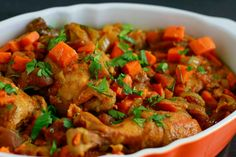 Slow Cooker Moroccan Chicken ~ savorylotus.com - I just made this and it is SOOOO GOOD!
