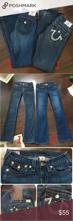 """Two pair of True Religion Jeans Size 27 Two pair of True Religion Jeans Size 27 Pair #1 ~ RN# 112790  CA 30427  Style# WAK564E91 High-Rise Boot Style Jeans Perfect condition other than some wear at leg seams!  Pair #2 ~ RN# 112790 CA 30427 Style# WQ1564BCS Becca """"Becky"""" Blue Jeans Perfect condition - ECU  Both pair very similar in style  Straight leg boot cut  Both same measurements: Laying flat waist measures 13.5"""" across Front Rise 8 1/4"""" Back Rise 13 1/4"""" Inseam 32"""" True Religion Jeans"""