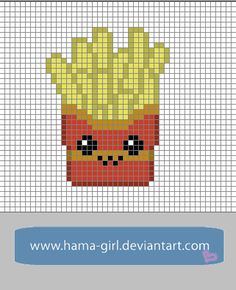 Happy Food Friends: Fries perler pattern by Hama-Girl on deviantART