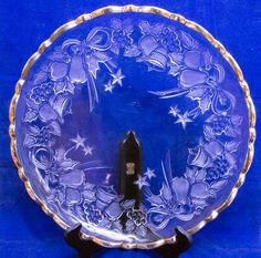 Extra-Large Glass Christmas Platter With Gold Trim & Frosted Design, Holiday Sale!