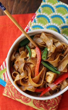 {I will skip the tofu and add shrimp I think! } Thai take-out at home is easy when these spicy salty delicious drunken noodles with tofu and peppers are on the menu! Veggie Recipes, Asian Recipes, Vegetarian Recipes, Cooking Recipes, Healthy Recipes, Ethnic Recipes, Asian Foods, Easy Recipes, Cooking Stuff